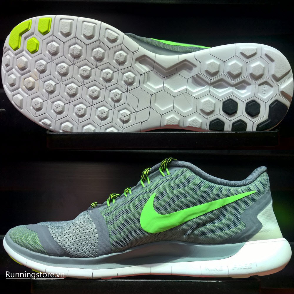 Nike Free 5.0- Cool Grey/ Green Strike 724382-013
