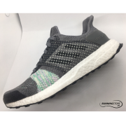 Adidas Ultra Boost ST- Core White/ Core Black/ Aero Green